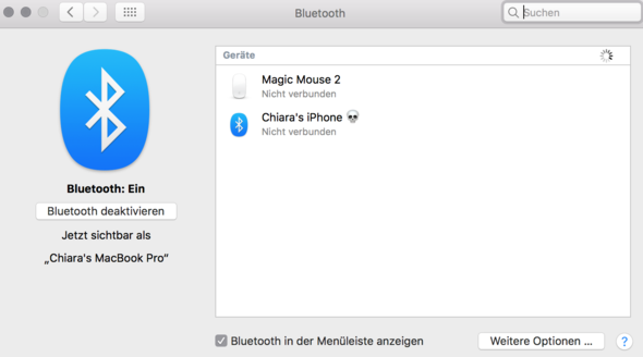 Bluetooth Einstellungen  - (Macbook, Bluetooth, UE BOOM 2)