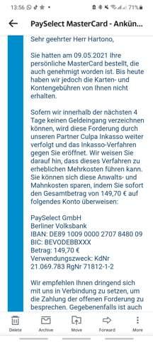 Wie kann ich meinen Antrag bei Payselect GmbH Frankfurt (Culpa Inkasso) stornieren?
