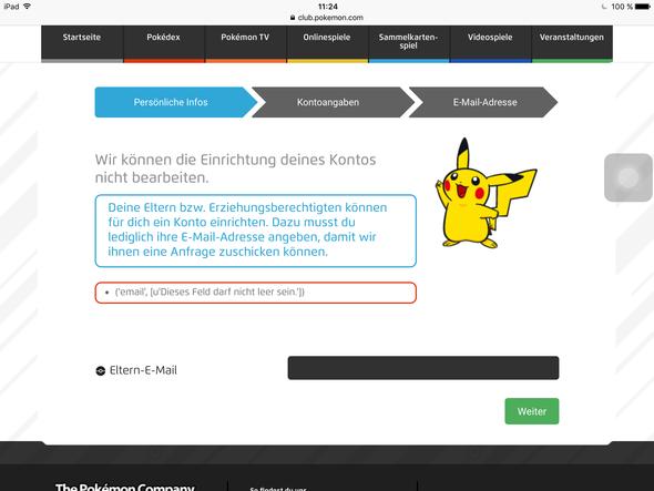 Das was kommt, wenn ich meine E-Mail eingebe - (Pokemon, Registrierung, Go)