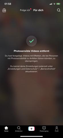 Wie kann ich photosensible Videos auf tik tok wieder rück gänging Machen?