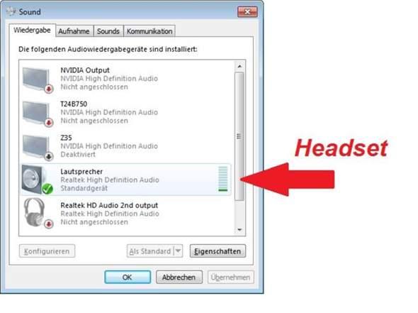 Wie kann ich reproduzierbar an meinem Windows-PC zwischen verschiedenen Audio-Ausgabegeräten umschalten?