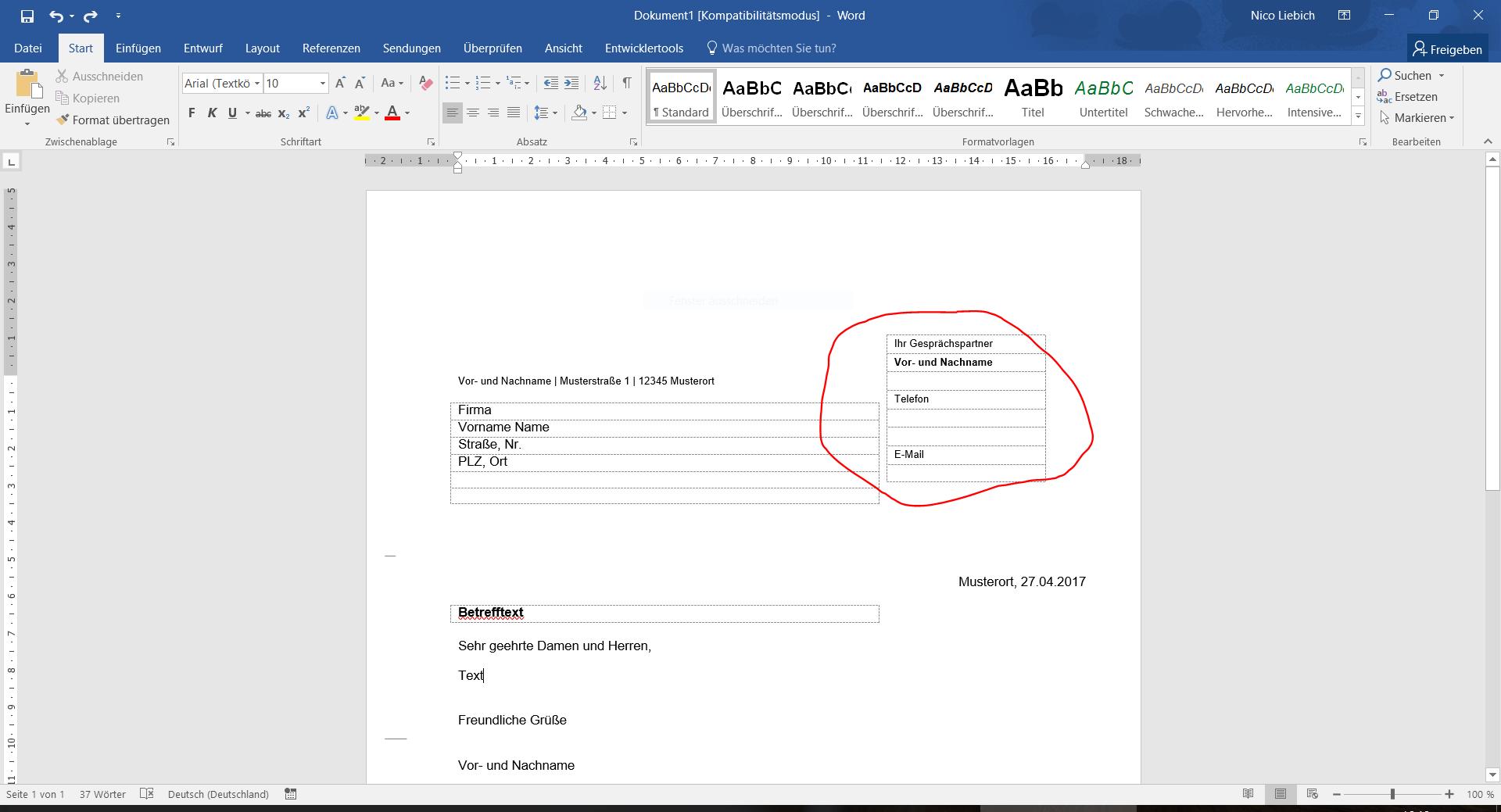 Wie kann ich Tabellen in MS Word 2016 fixieren bzw fest verankern ...