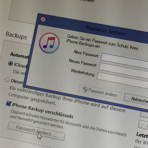 iPhone Backup-Verschlüsselung  - (iPhone, Apple, iTunes)
