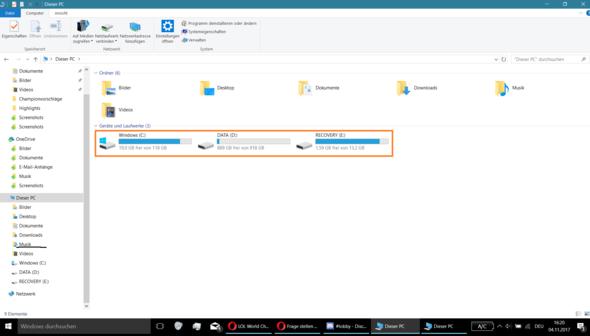 nur ein - (Festplatte, Windows 10)