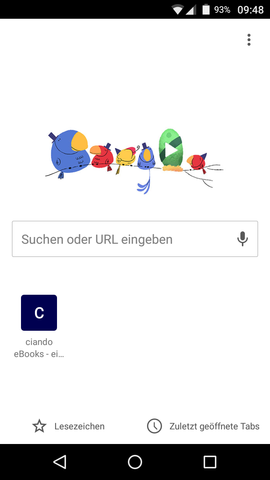 Chrome Android Startseite Lesezeichen