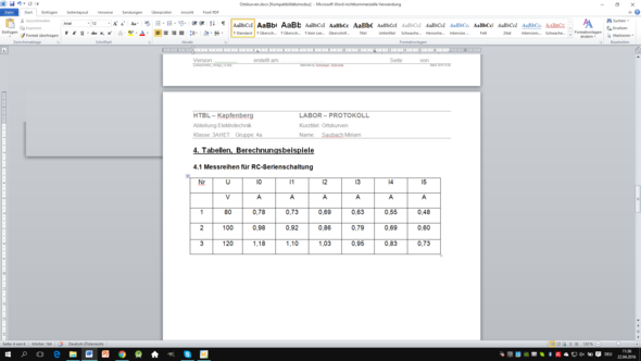 tabelle - (Windows 10, Word, Textverarbeitung)