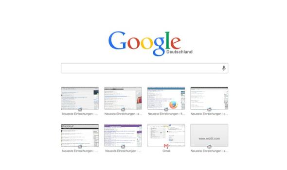 Wie kann man beim Browser Google Chrome die 8 Kästchen