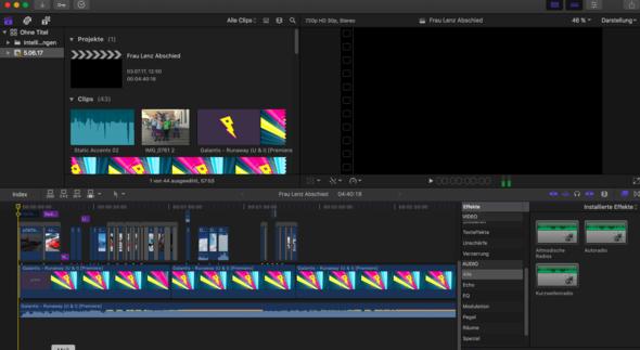 Hier sieht man es  - (Videobearbeitung, Final Cut Pro)