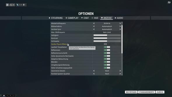 Screenshot: Warframe Einstellungen - (physx, hardwarebeschleunigung)