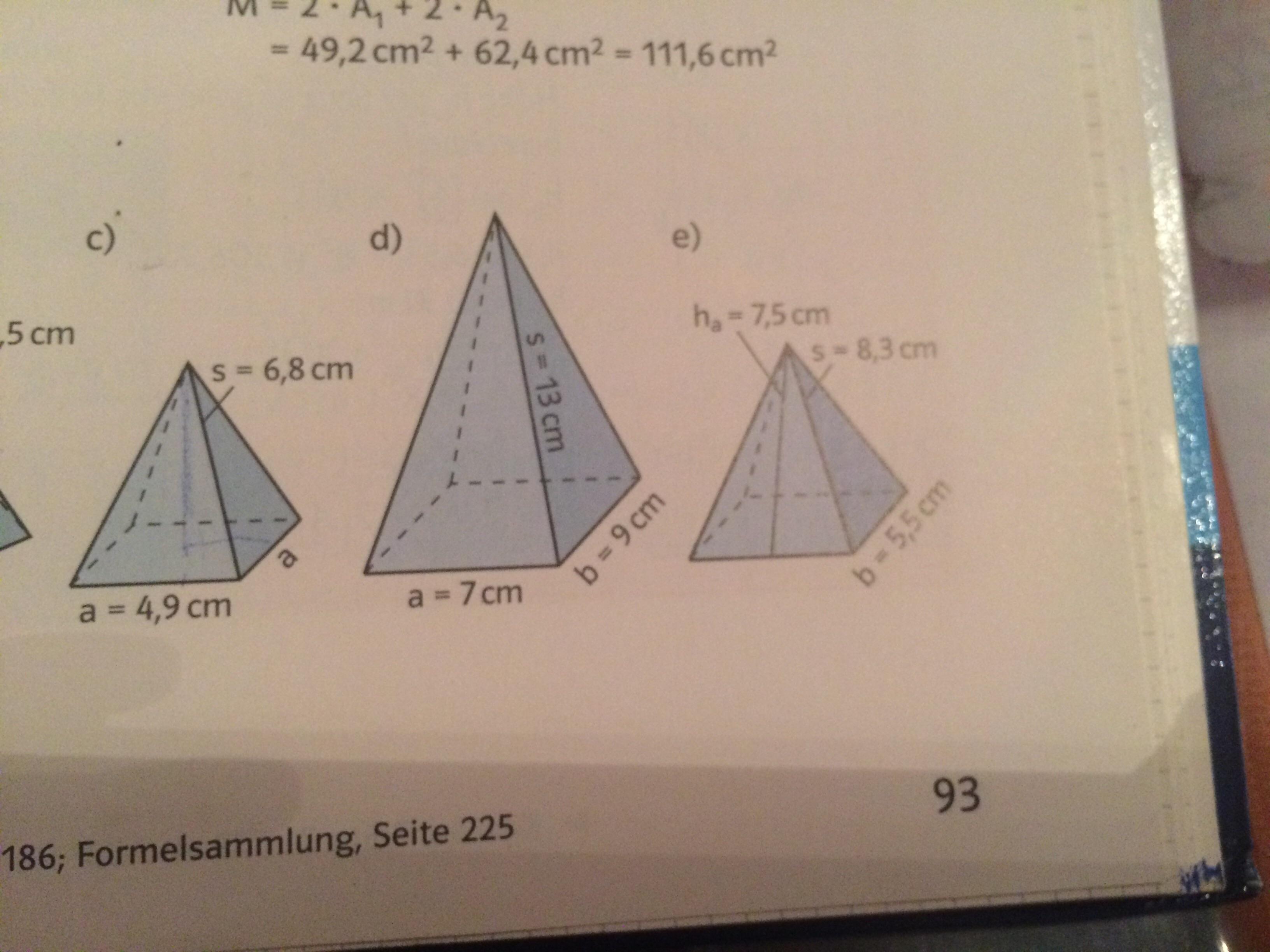 wie kann man die h he des pyramiden ausrechnen wenn man. Black Bedroom Furniture Sets. Home Design Ideas
