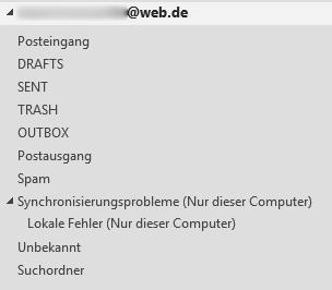 Die aktuellen Ordner Namen. - (E-Mail, Ordner, Outlook)