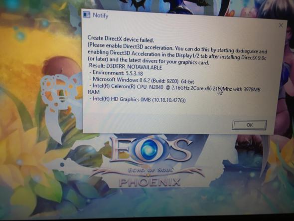 Wie kann man diese Fehlermeldung (create DirectX device failed.) beheben?