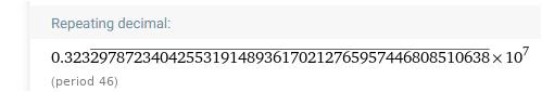 Wie kann man sehr lange ( über 1000 Ziffern ) Perioden bei Dezimalzahlen erzeugen?