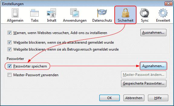 Firefox Sicherheit - (Firefox, Passwort speichern)