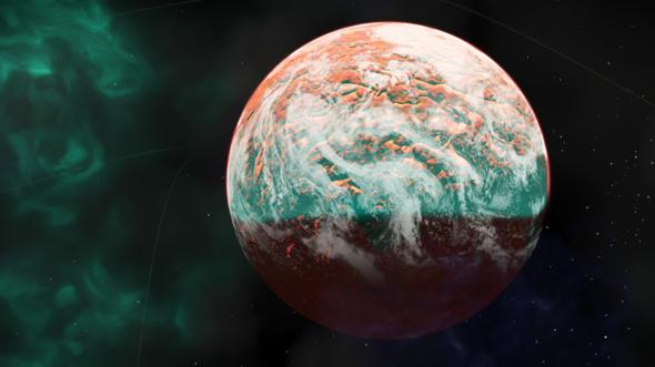 Wie könnte ein bewohnter Planet um einen roten Zwerg aussehen?