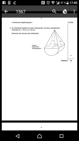 Wie könnte ich die Grundfläche der quadratischen Pyramide berechnen ...