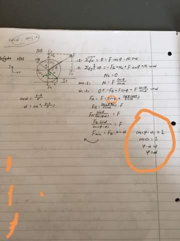 Wie kommt man darauf, dass cos(phi-alpha) =0ist, wenn die Winkel nicht gegeben sind?