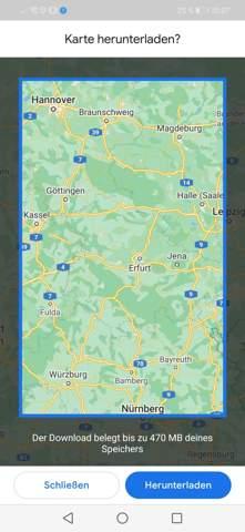 Wie komplette Google maps Strecke offline verwenden bzw. Downloaden? Kann nur einen Teil der Karte markieren anbei bild?