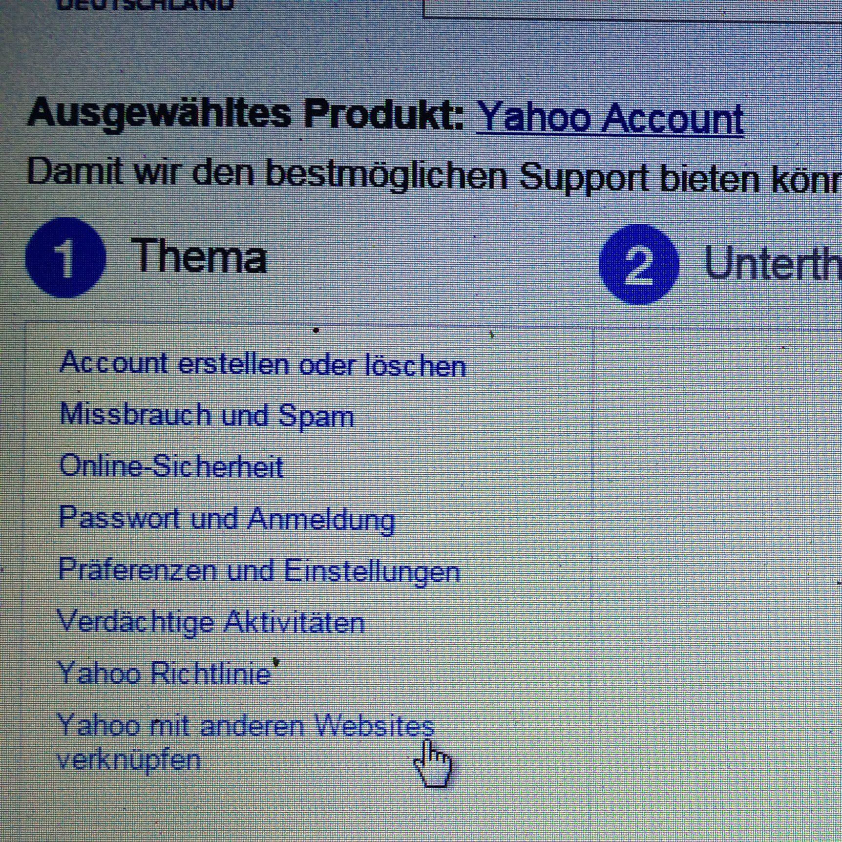 Wie kontaktiere ich den yahoo Support? (konto-gesperrt)