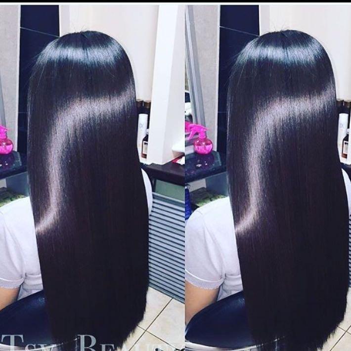 Glanzende haare wie