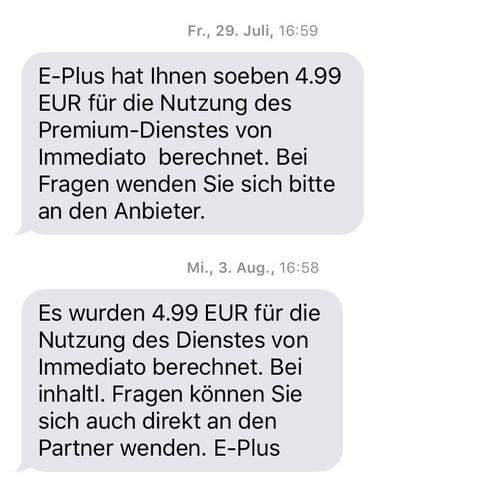 Hier ist so eine SMS - (Abo, kündigen, Immediato)