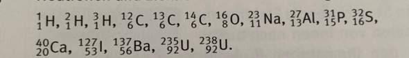 Wie lautet die Anzahl der Protonen, Neutronen, Elektronen und die Ordnungszahl dieser Atome?