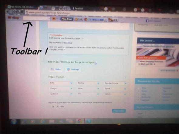 Toolbar - (Spiele, Bilder, Google)