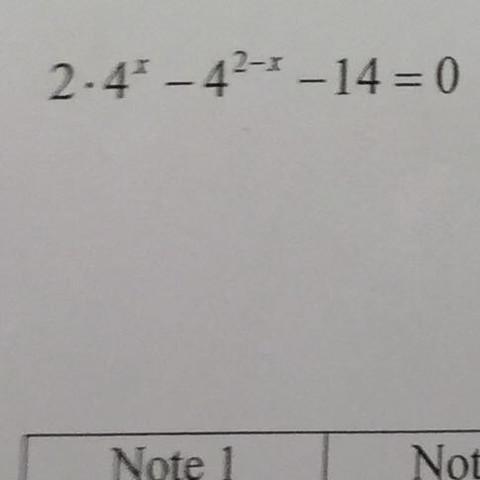 2 mal 4^x minus 4 ^2-x minus 14 = 0 - (Mathe, Mathematik, Logarithmus)