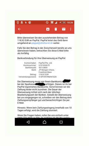 Paypal Anschreiben