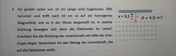 Wie löst man diese Aufgabe zur Lorentzkraft?