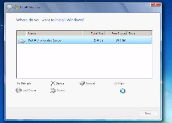 1 Disk Option - (Windows, Windows 7, Installation)