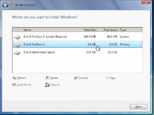3 Disk Optionen - (Windows, Windows 7, Installation)
