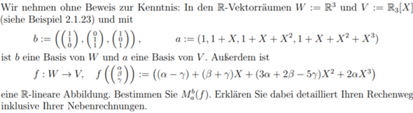 Wie Matrix von Basis einer Matrix und Basis eines Polynoms bestimmen?