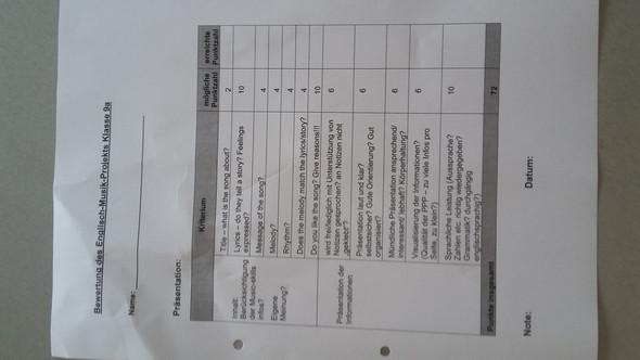 Kriterienbogen - (Schule, Musik, Englisch)