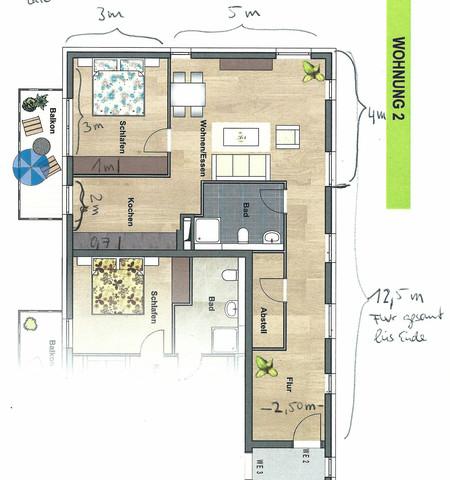wie neubau wohnung aufteilen von 2 zimmer zu 3 zimmer. Black Bedroom Furniture Sets. Home Design Ideas