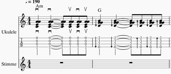 Wie notiert man Rhythmus Gitarren,  bzw. Akkorde richtig?