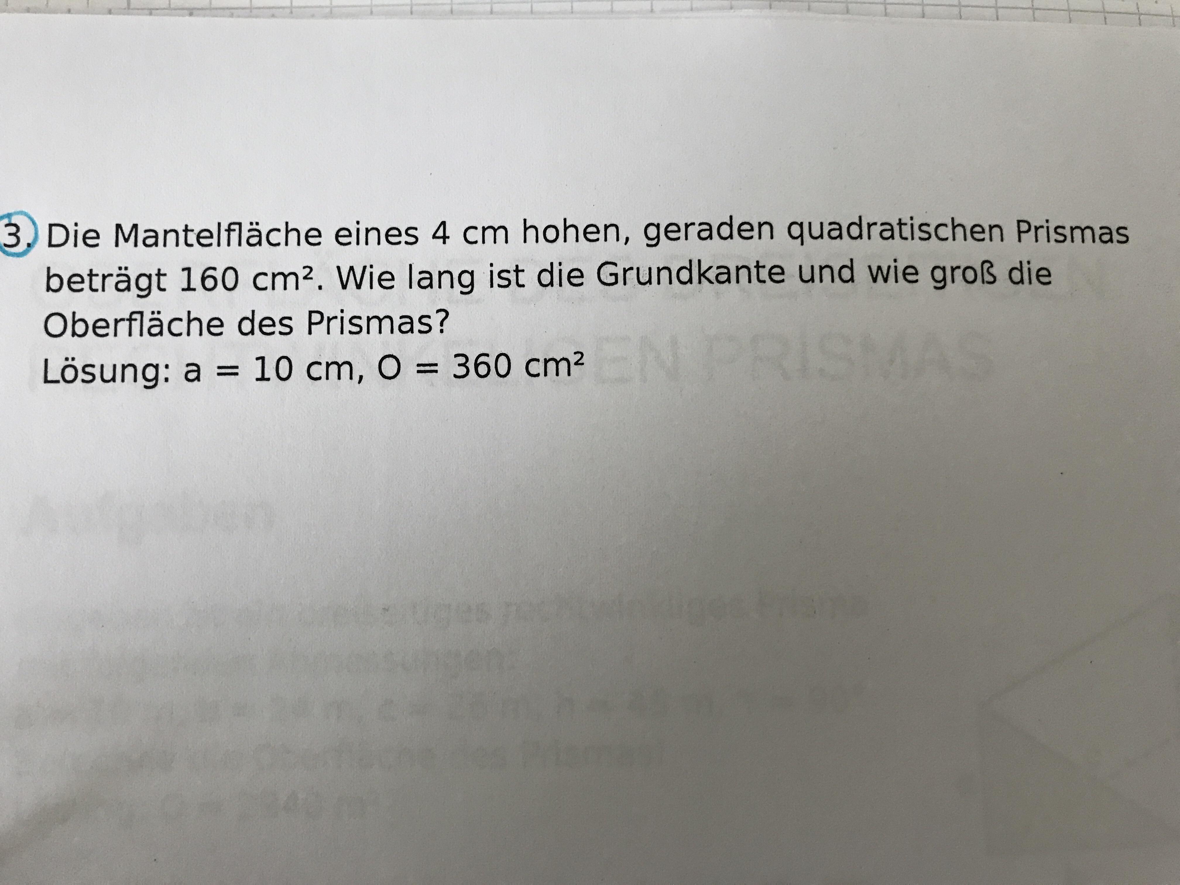 Wie rechne ich mir die Grundkante aus? (Schule, Mathe, Dringende Hilfe)