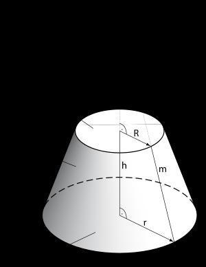 Wie rechnet man die Höhe h und den Radius R beim Kegelstumpf aus, wenn nur der Radius r gegeben ist?