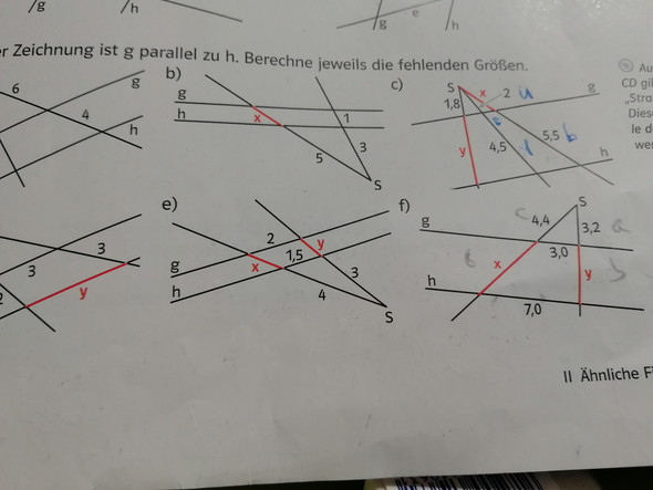 Wie rechnet man dies art von strahlen sätze e) f)?