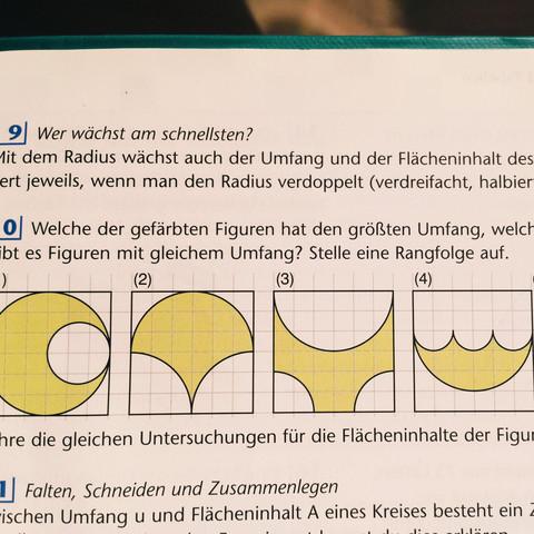 (Da steht : Welche der gefärbten Figuren hat den größten Umfang, welche kleinste - (Mathe, Aufgabe, Formel)