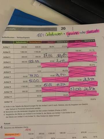 Wie rechnet man welche die Felder leer sind?