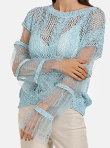 Wie schön findet ihr diesen Damenpullover in rosa oder hellblau?