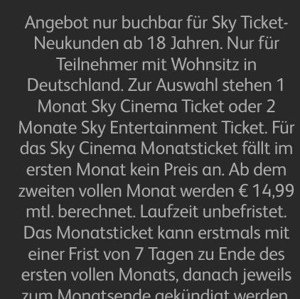 Sky Ticket Kündigungsfrist