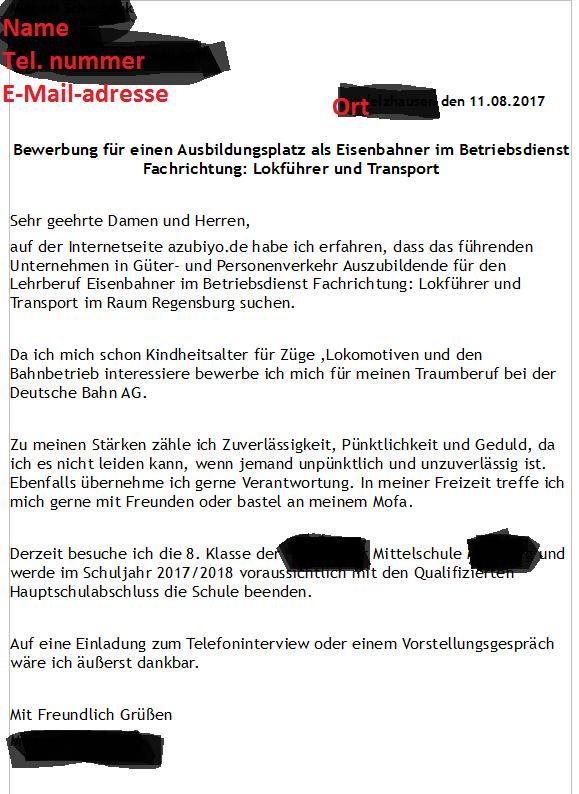 wie sollte ich mich bei der deutschen bahn bewerben freizeit ausbildung finanzen - Bewerbung Deutsche Bahn