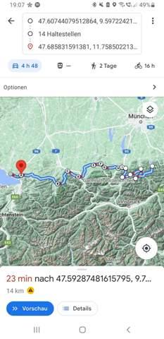 Wie starte ich eine mit Google Maps erstellte Route in der Google Maps App?
