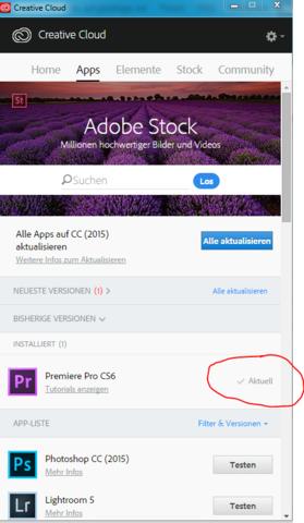 Creative Cloud, Probleme beim öffnen - (Adobe, Premiere, Creative Cloud)