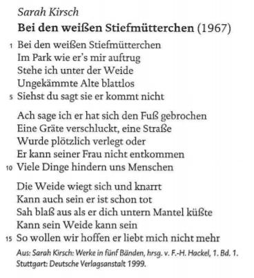 """Wie steht Ulla Hahn zu dem Gedicht """"Bei den weißen Stiefmütterchen"""" von Sarah Kirsch?"""