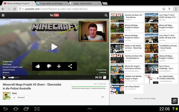 Wie stelle ich am Tablet YouTubevideos auf HD?