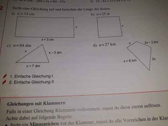 Wie stellt man eine Gleichung auf bei Formen?