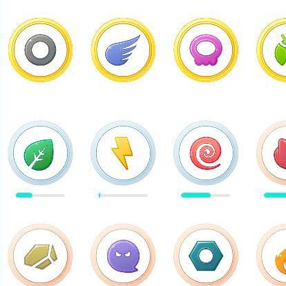 """Die Logos stehen für verschiedene """"Elemente"""" und sind von Pokemon Go - (Computer, PC, zeichnen)"""